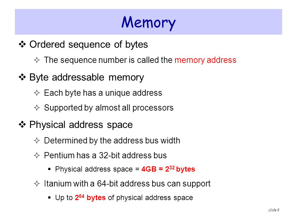 Memory Ordered sequence of bytes Byte addressable memory