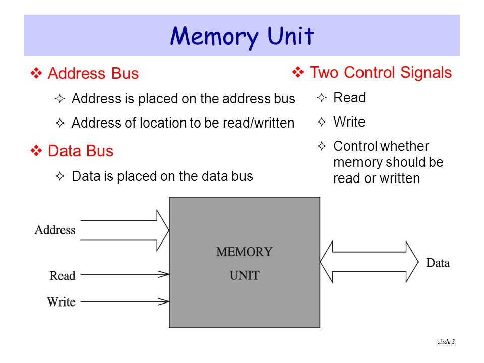 Memory Unit Address Bus Two Control Signals Data Bus