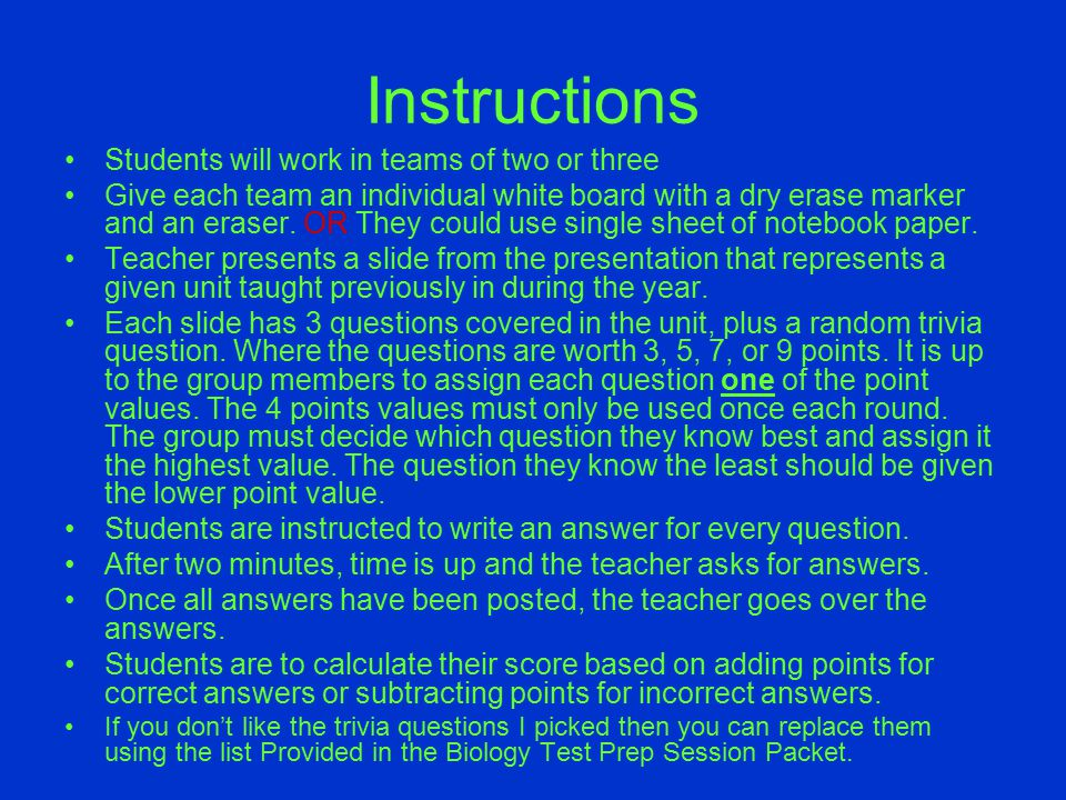 Instructions Students will work in teams of two or three
