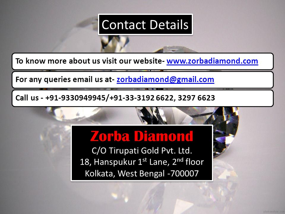 Zorba Diamond Contact Details C/O Tirupati Gold Pvt. Ltd.