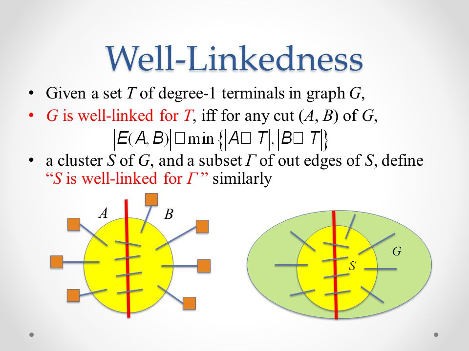 Well-Linkedness Given a set T of degree-1 terminals in graph G,