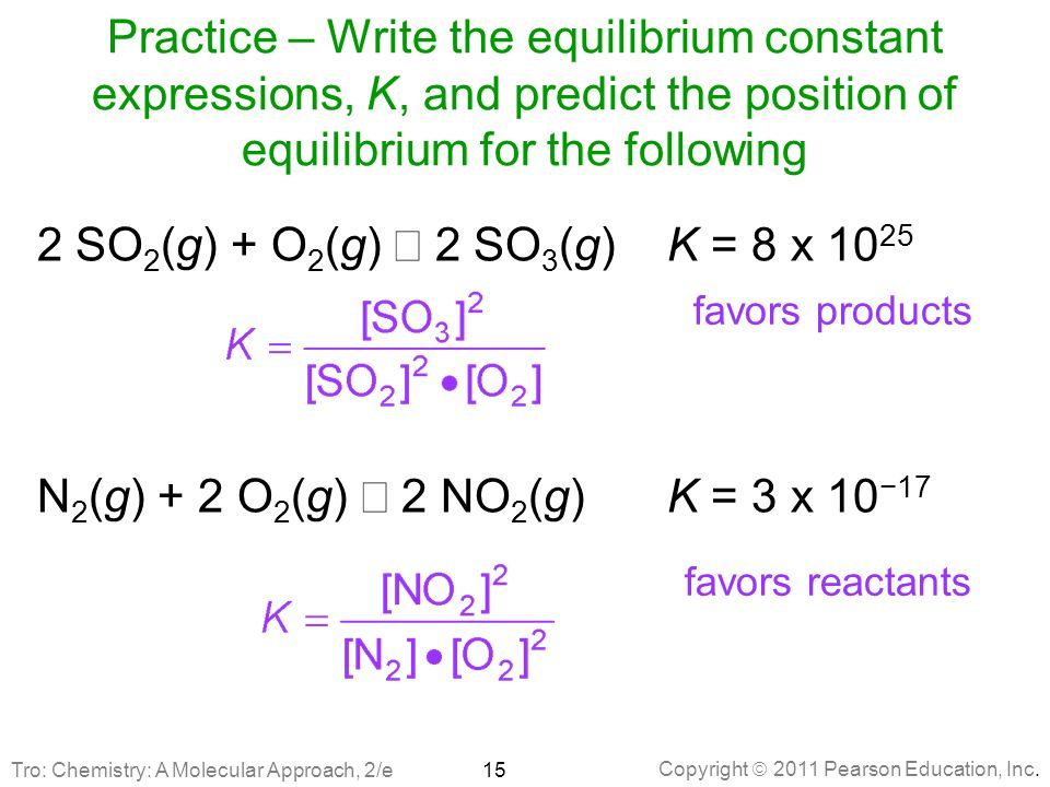 Practice – Write the equilibrium constant expressions, K, and predict the position of equilibrium for the following