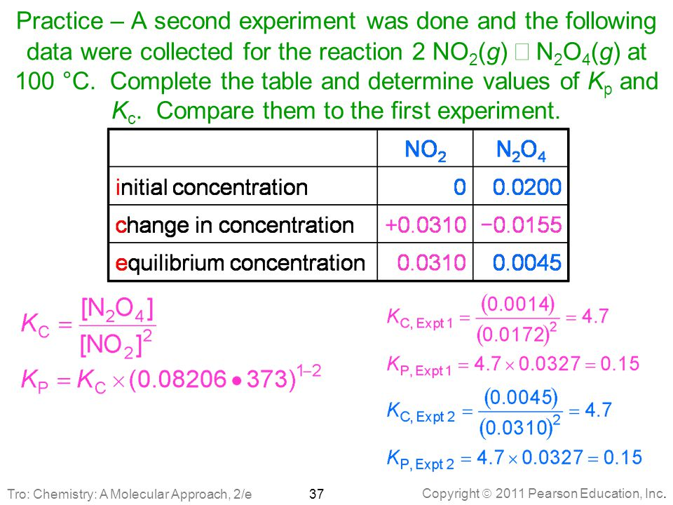 Practice – A second experiment was done and the following data were collected for the reaction 2 NO2(g) Û N2O4(g) at 100 °C. Complete the table and determine values of Kp and Kc. Compare them to the first experiment.