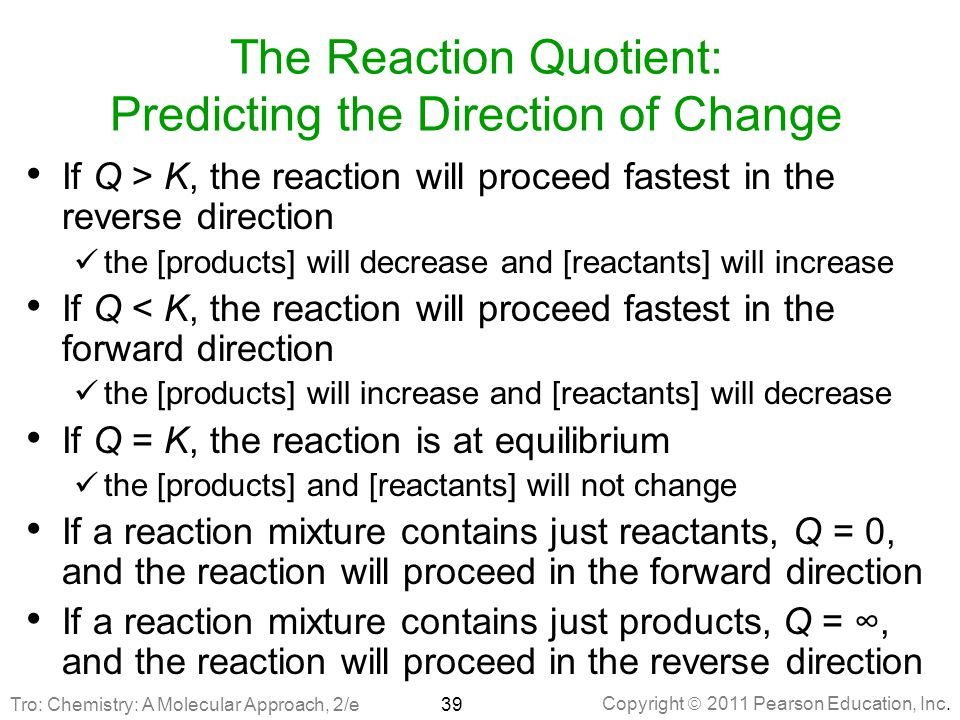 The Reaction Quotient: Predicting the Direction of Change