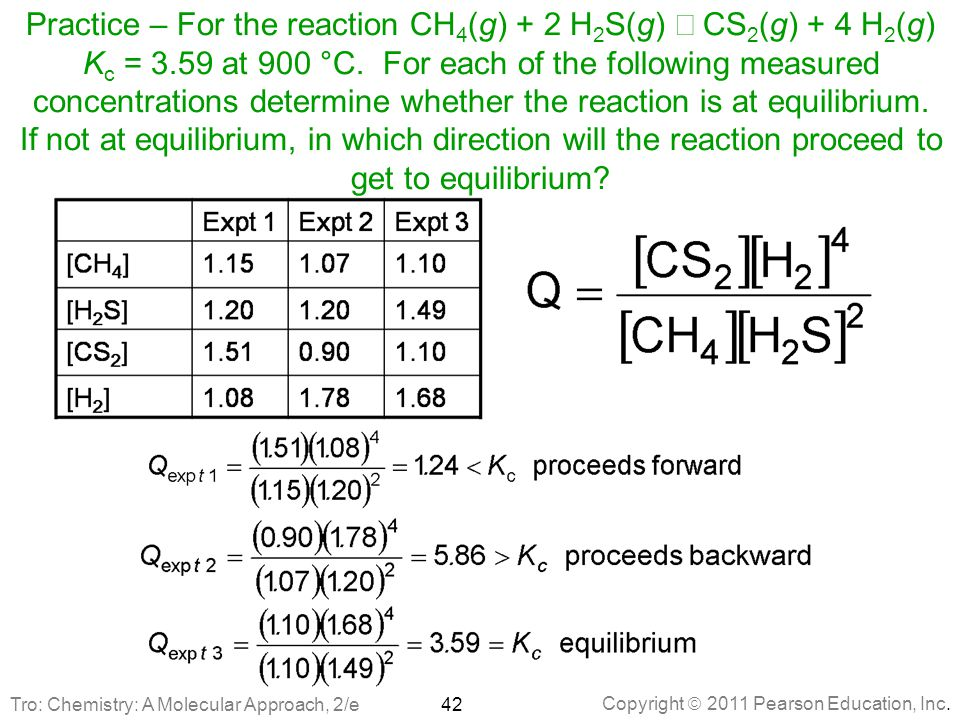 Practice – For the reaction CH4(g) + 2 H2S(g) Û CS2(g) + 4 H2(g) Kc = 3.59 at 900 °C. For each of the following measured concentrations determine whether the reaction is at equilibrium. If not at equilibrium, in which direction will the reaction proceed to get to equilibrium