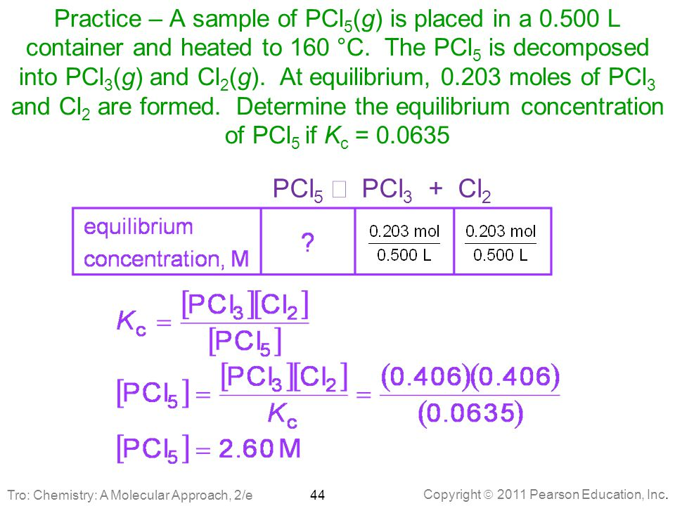 Practice – A sample of PCl5(g) is placed in a 0