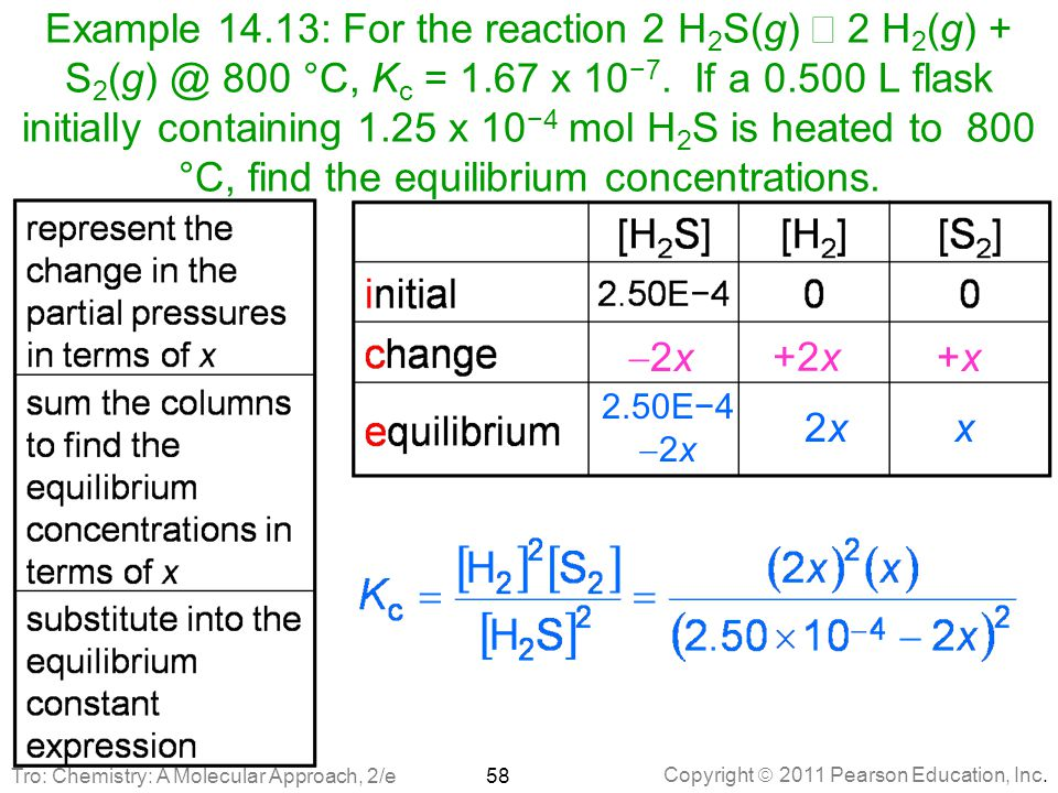 Example 14.13: For the reaction 2 H2S(g) Û 2 H2(g) + S2(g) @ 800 °C, Kc = 1.67 x 10−7. If a 0.500 L flask initially containing 1.25 x 10−4 mol H2S is heated to 800 °C, find the equilibrium concentrations.