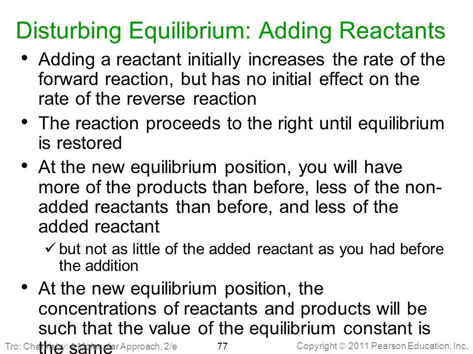 Disturbing Equilibrium: Adding Reactants