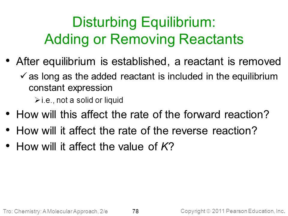 Disturbing Equilibrium: Adding or Removing Reactants
