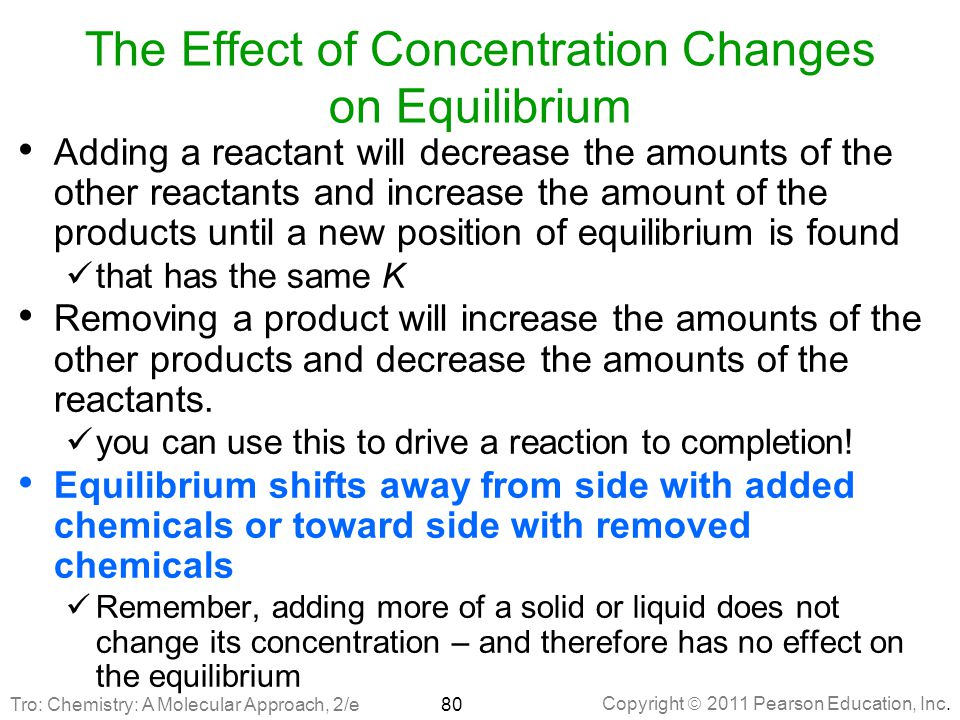 The Effect of Concentration Changes on Equilibrium