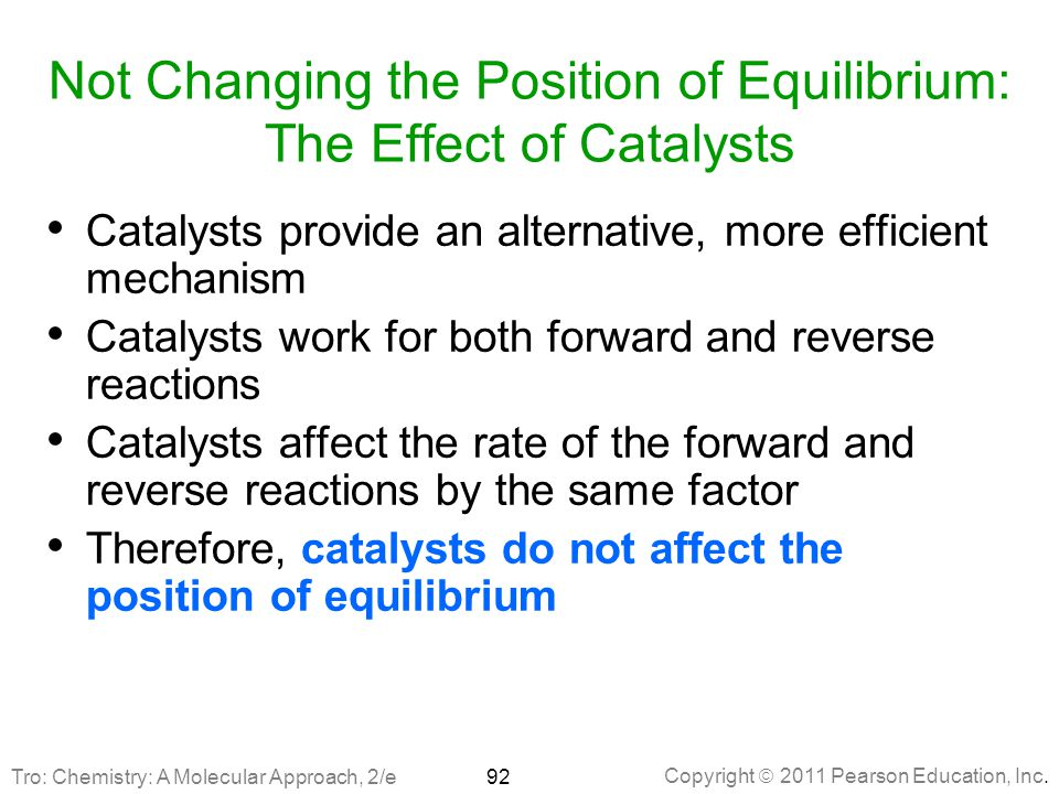 Not Changing the Position of Equilibrium: The Effect of Catalysts