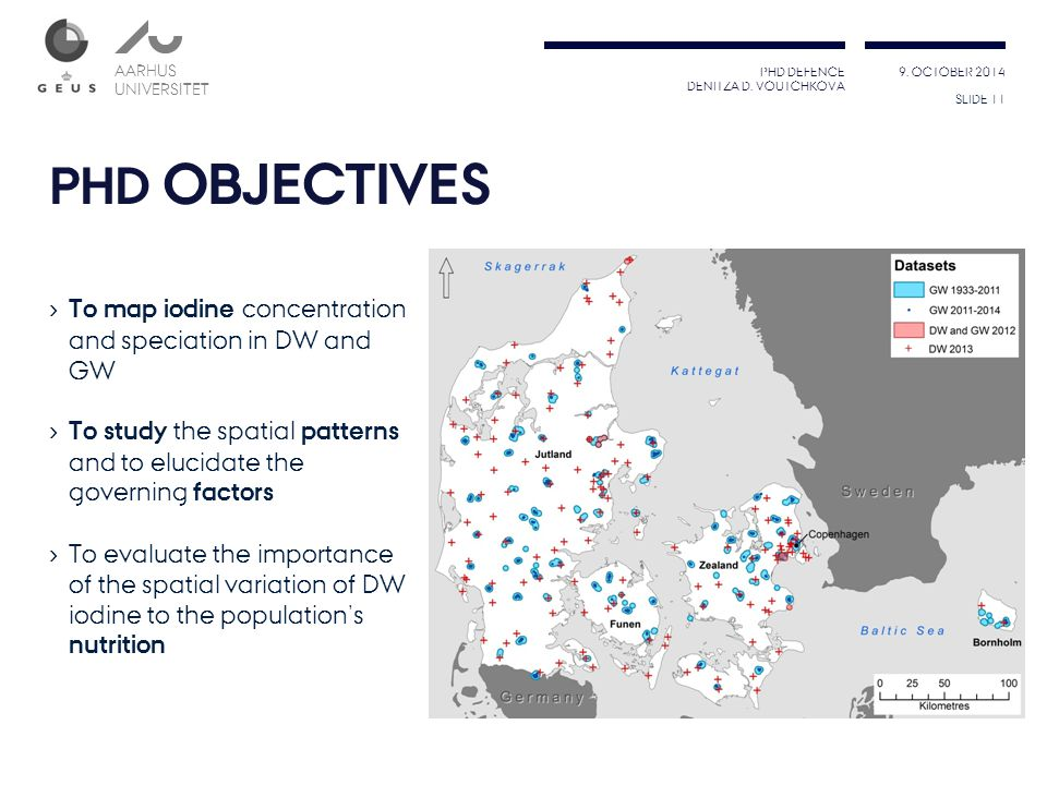 PHD OBJECTIVES To map iodine concentration and speciation in DW and GW