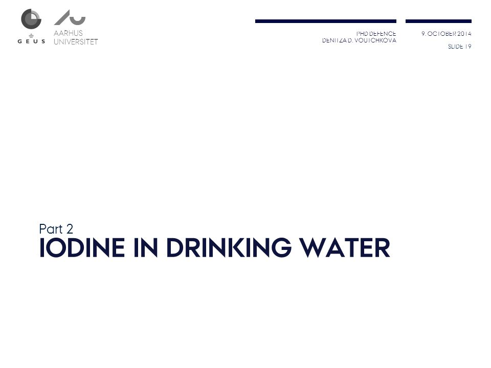 Iodine in Drinking water