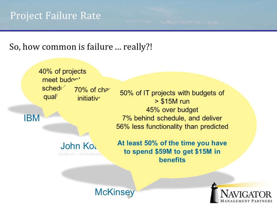 Project Failure Rate So, how common is failure … really ! IBM