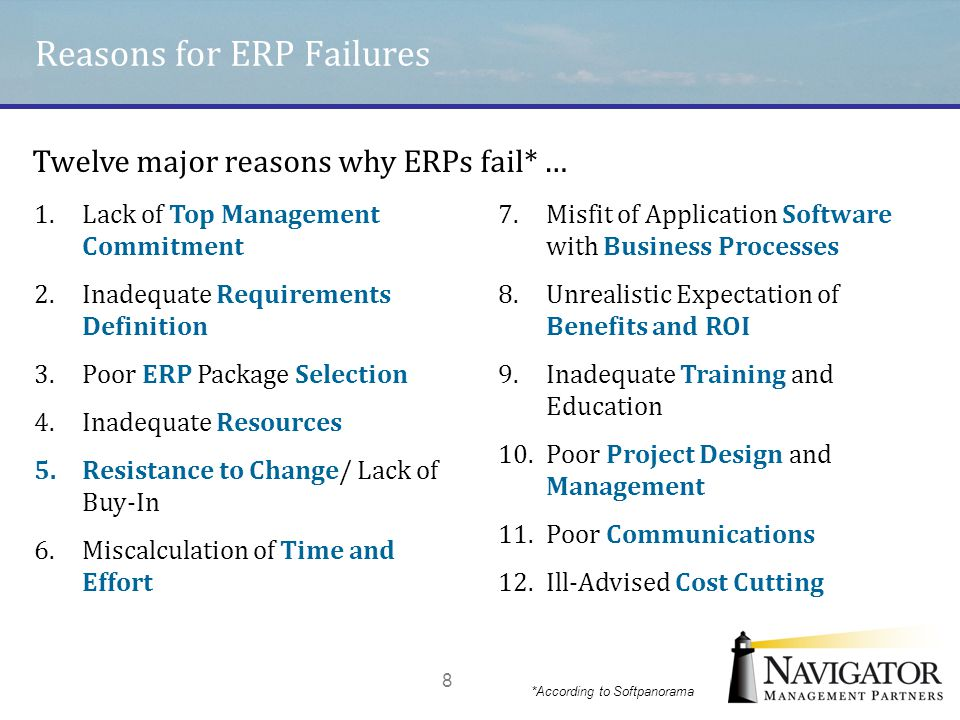 Reasons for ERP Failures