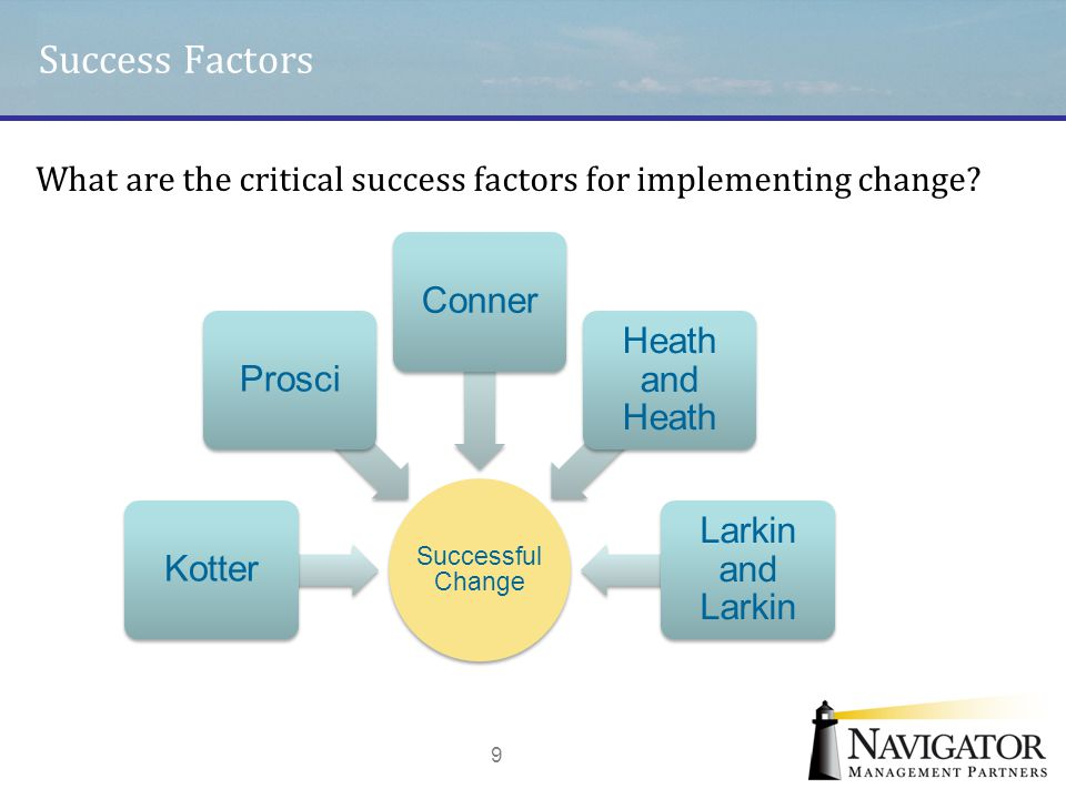 Success Factors Conner Heath and Heath Prosci Larkin and Larkin Kotter
