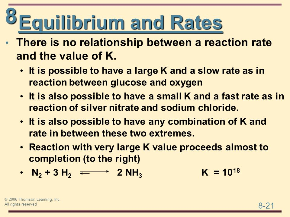 Equilibrium and Rates There is no relationship between a reaction rate and the value of K.