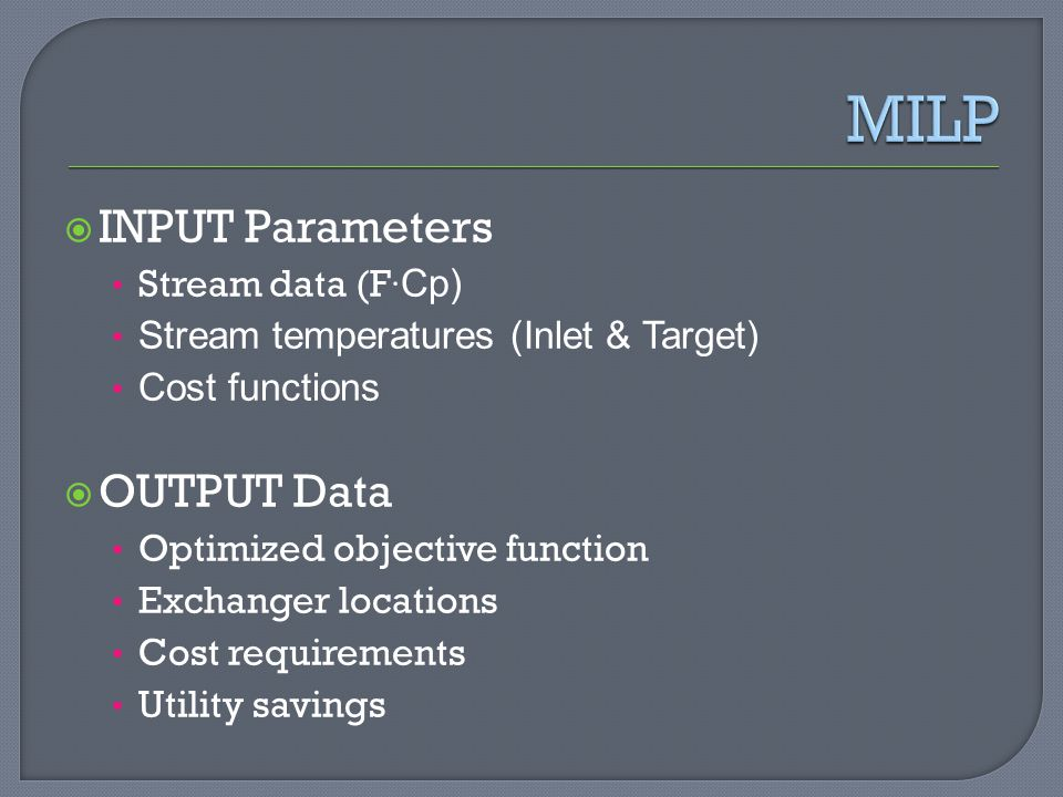 MILP INPUT Parameters OUTPUT Data Stream data (F·Cp)