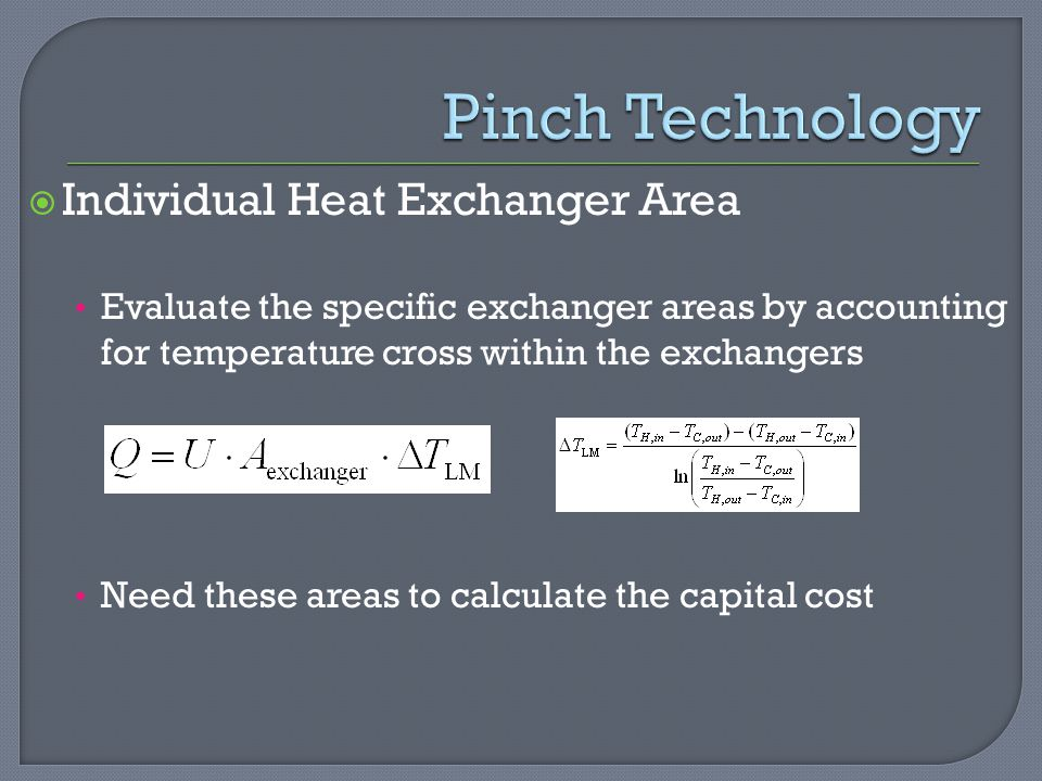 Pinch Technology Individual Heat Exchanger Area