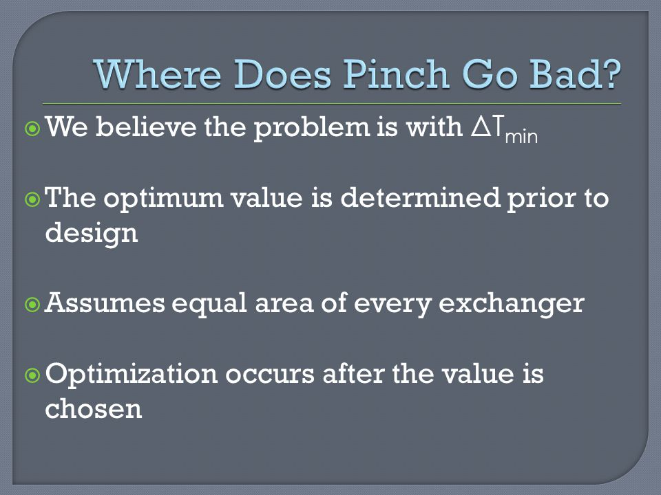 Where Does Pinch Go Bad We believe the problem is with ΔTmin
