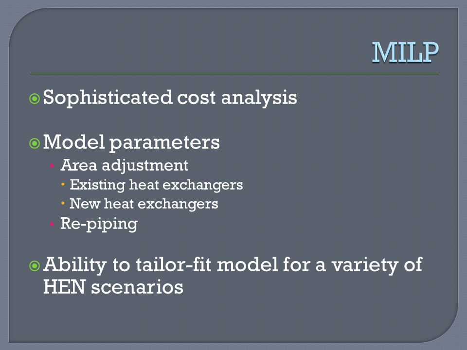 MILP Sophisticated cost analysis Model parameters