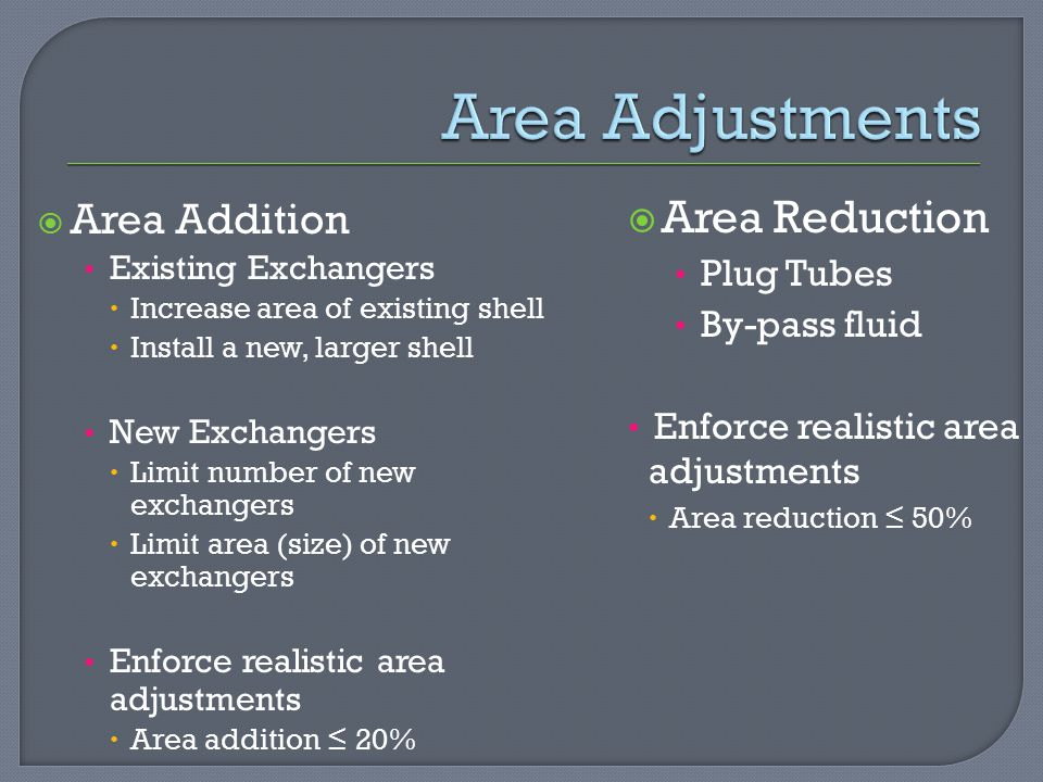 Area Adjustments Area Reduction Area Addition Plug Tubes By-pass fluid