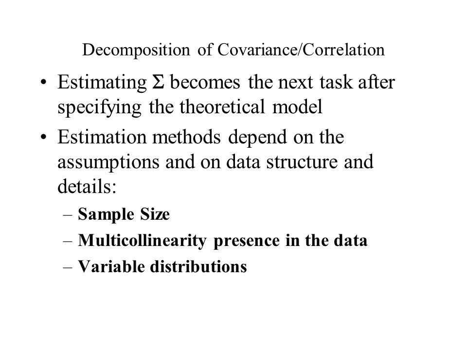 Decomposition of Covariance/Correlation