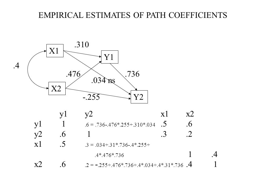 EMPIRICAL ESTIMATES OF PATH COEFFICIENTS