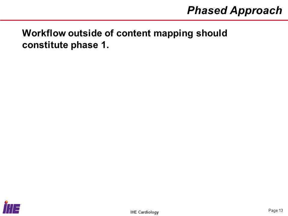 Phased Approach Workflow outside of content mapping should constitute phase 1. IHE Cardiology