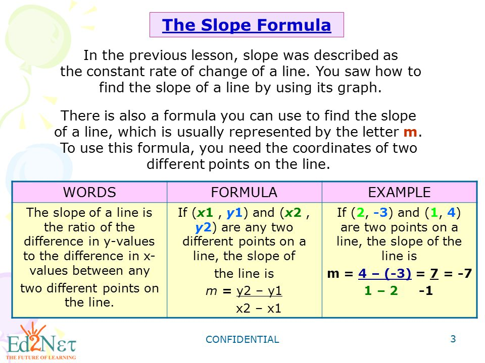 The Slope Formula In the previous lesson, slope was described as