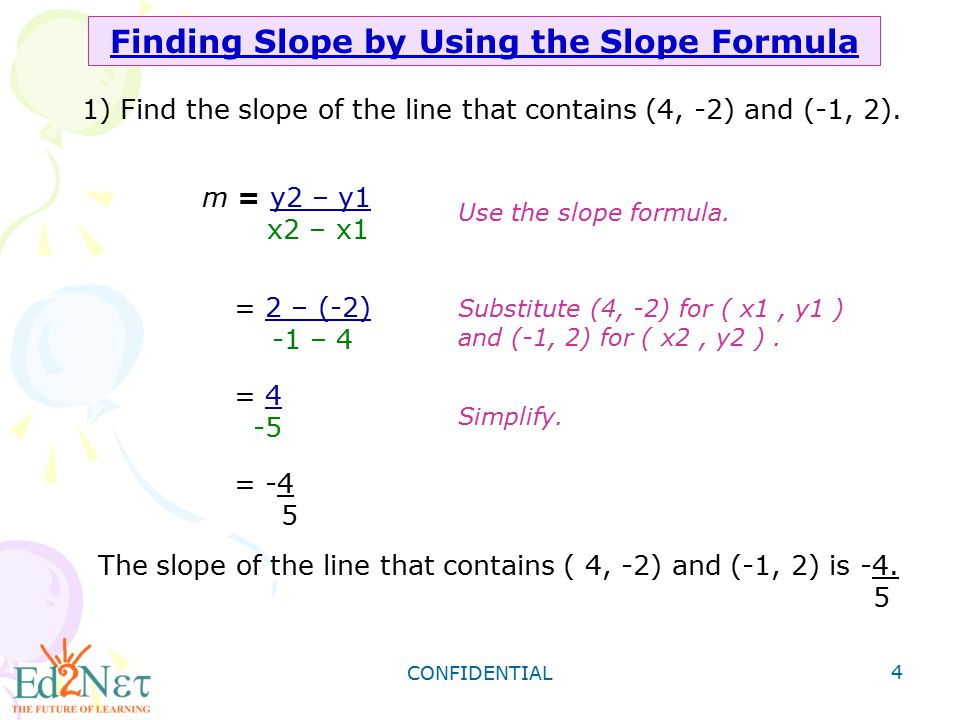 Finding Slope by Using the Slope Formula