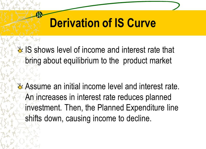 Derivation of IS Curve IS shows level of income and interest rate that bring about equilibrium to the product market.