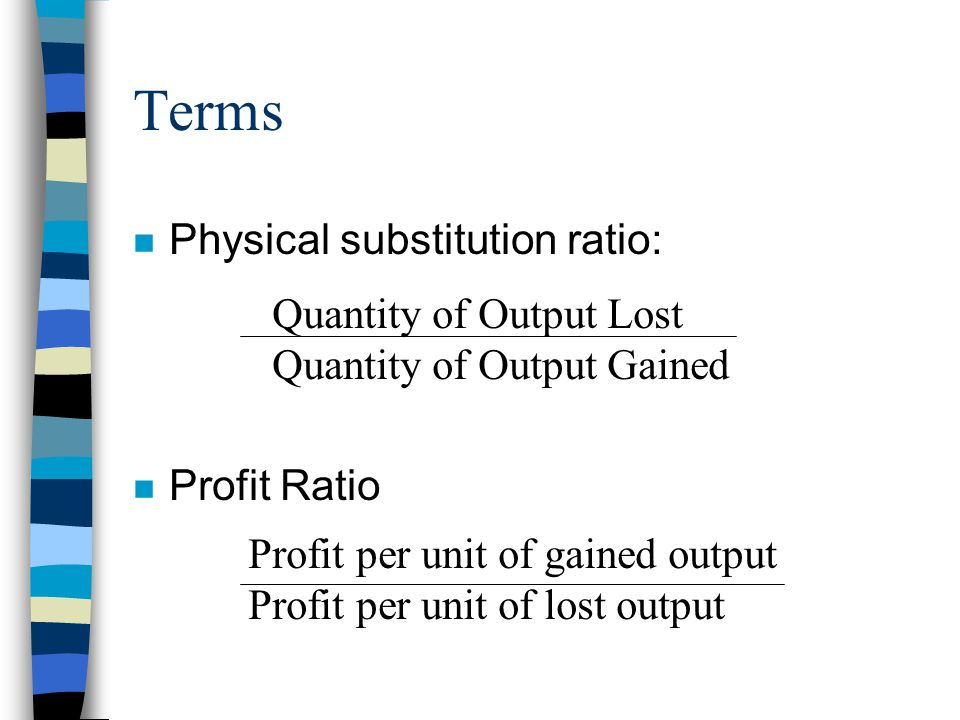 Terms Physical substitution ratio: Quantity of Output Lost