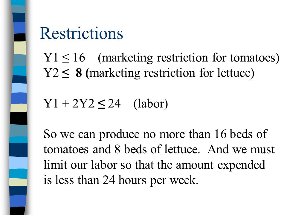 Restrictions Y1 ≤ 16 (marketing restriction for tomatoes)