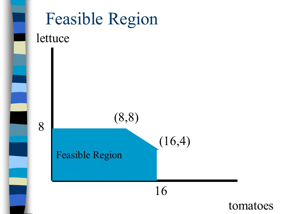 Feasible Region lettuce (8,8) 8 Feasible Region (16,4) 16 tomatoes