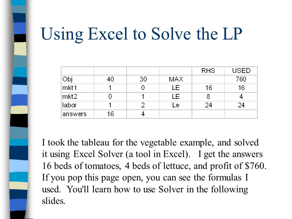 Using Excel to Solve the LP
