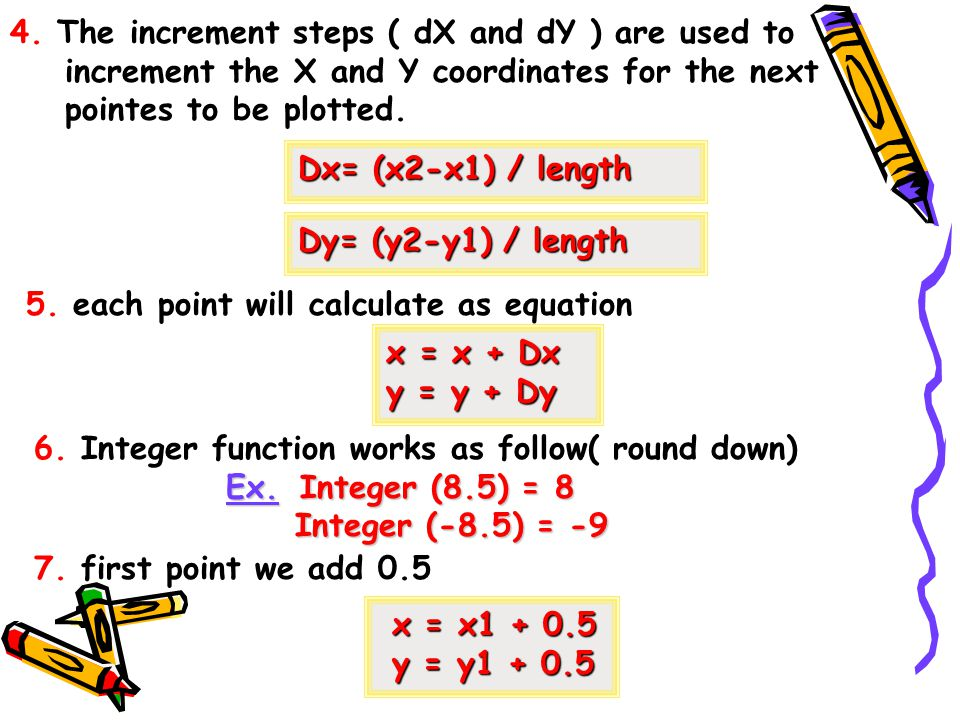 4. The increment steps ( dX and dY ) are used to