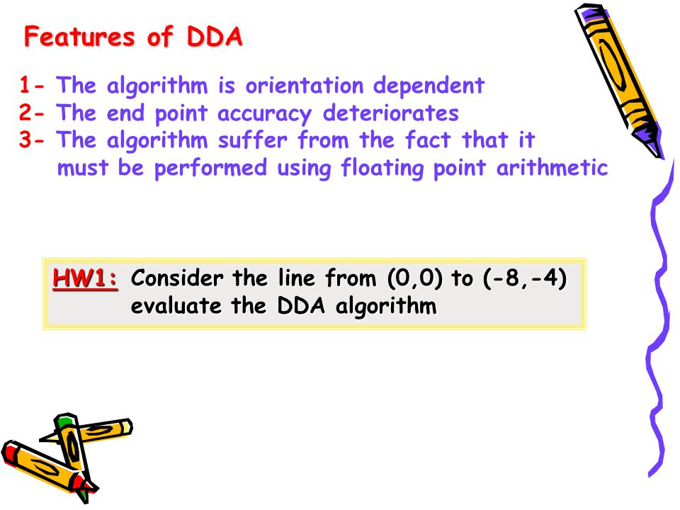 Features of DDA 1- The algorithm is orientation dependent