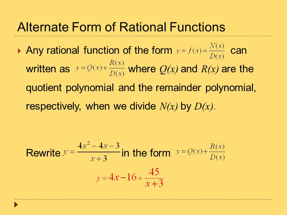 Alternate Form of Rational Functions