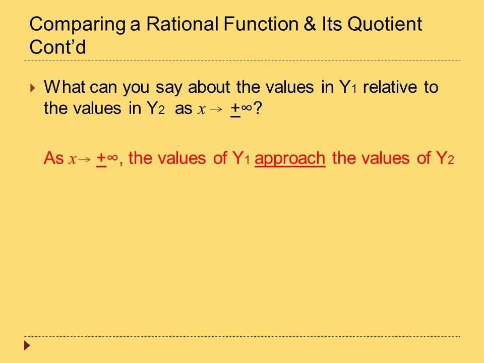 Comparing a Rational Function & Its Quotient Cont'd