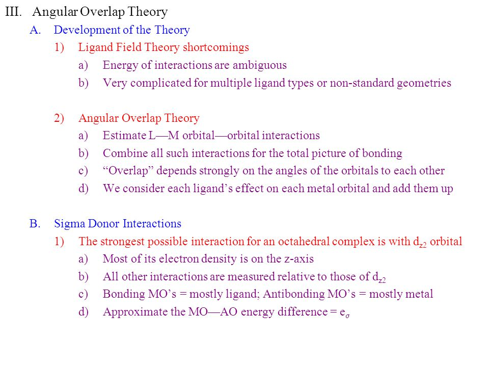Angular Overlap Theory