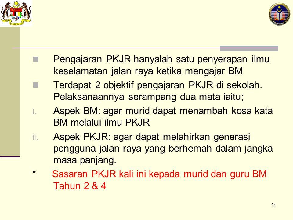 Pengajaran PKJR hanyalah satu penyerapan ilmu keselamatan jalan raya ketika mengajar BM