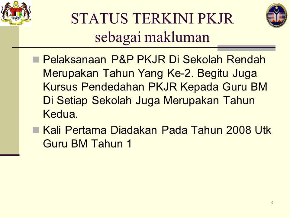 STATUS TERKINI PKJR sebagai makluman
