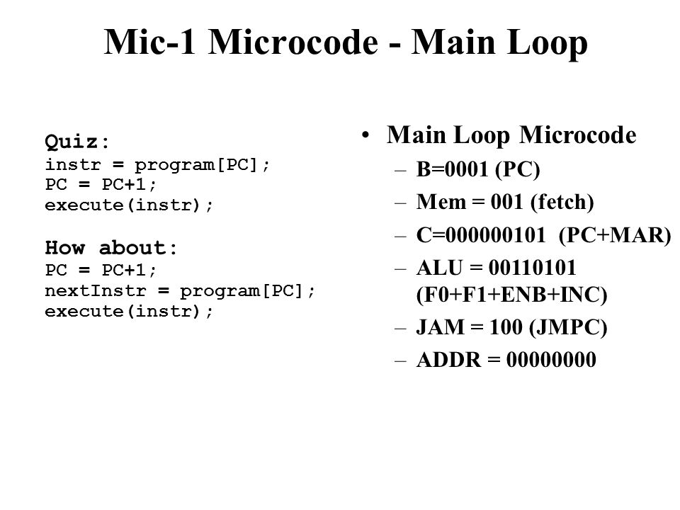 Mic-1 Microcode - Main Loop