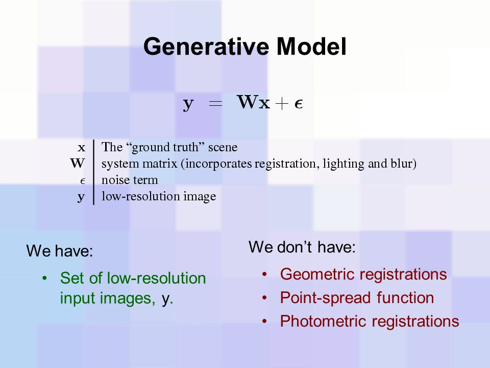Generative Model We don't have: We have: Geometric registrations