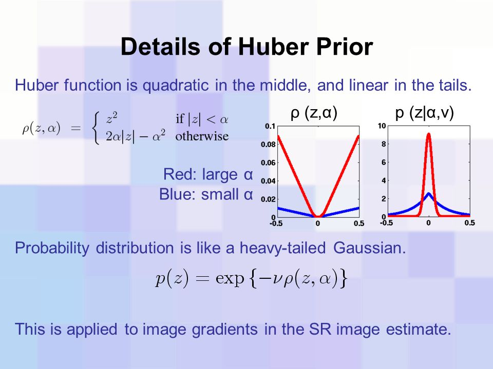 Details of Huber Prior Huber function is quadratic in the middle, and linear in the tails. ρ (z,α)