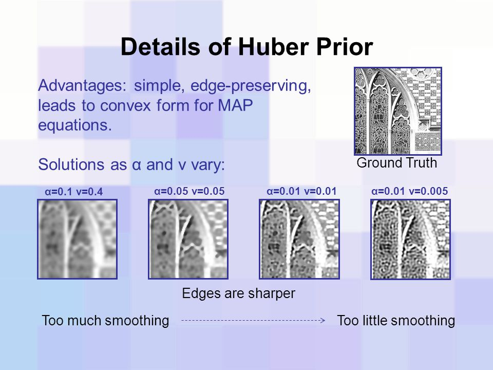 Details of Huber Prior Advantages: simple, edge-preserving, leads to convex form for MAP equations.