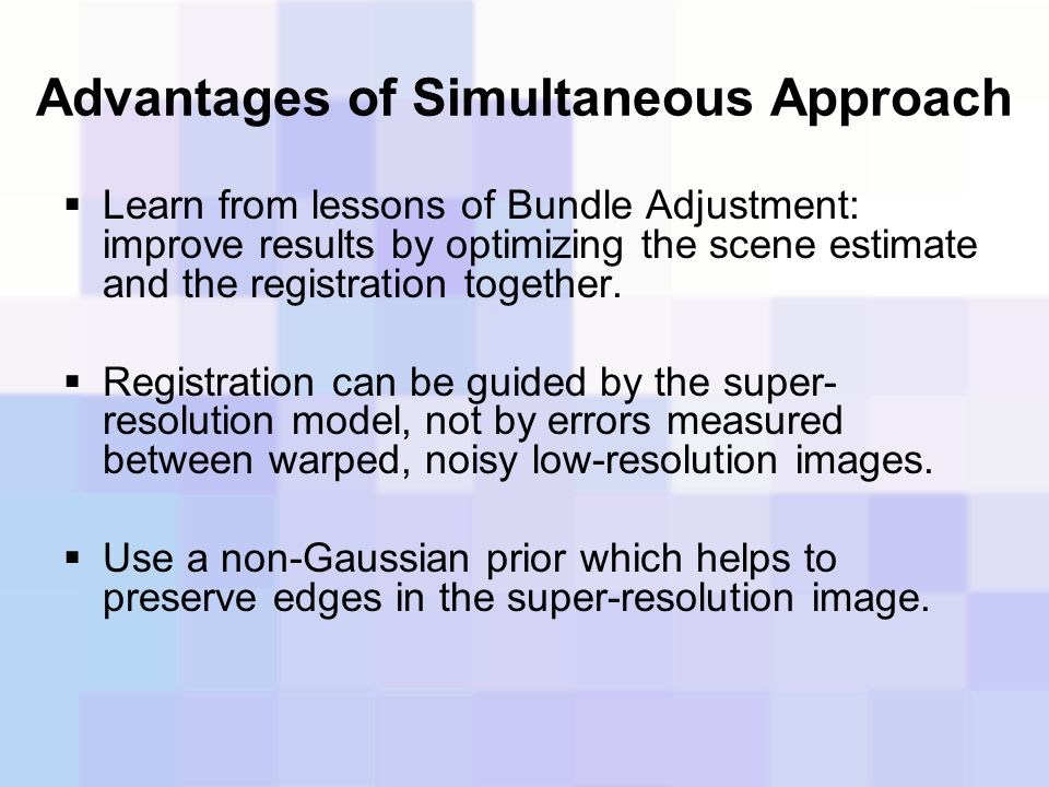Advantages of Simultaneous Approach