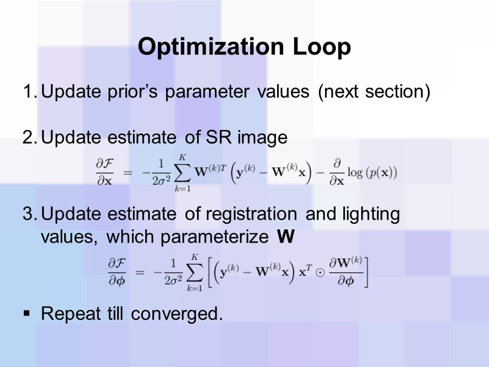 Optimization Loop Update prior's parameter values (next section)