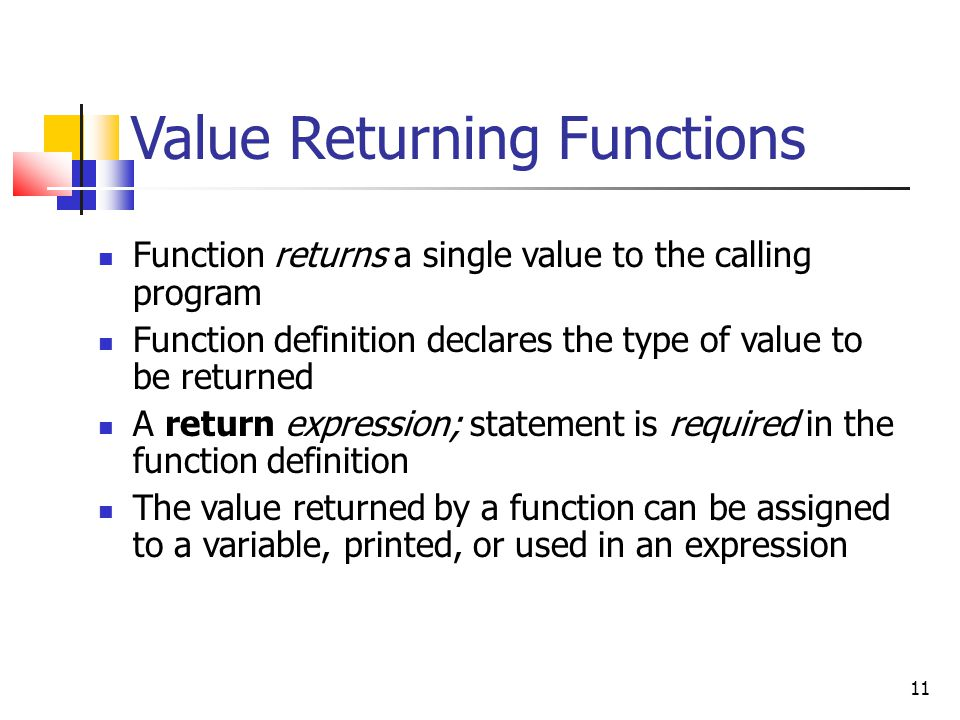 Value Returning Functions
